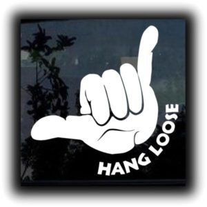 Hang Loose Shaka Window Decal II - https://customstickershop.us/product-category/stickers-for-cars/