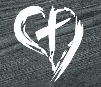 heart and cross jesus God christian decal sticker