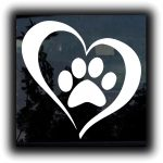 Heart Paw Dog Decal - Dog Stickers