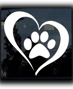 Heart Paw Window Decal Sticker - //customstickershop.us/product-category/animal-stickers/
