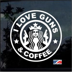 i love guns and coffee decal sticker