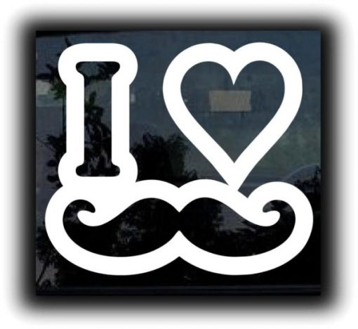 Love Mustache Funny Window Decals - https://customstickershop.us/product-category/funny-window-decals/
