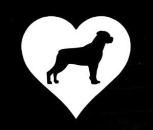 Rottweiler Heart Decal Sticker - https://customstickershop.us/product-category/animal-stickers/