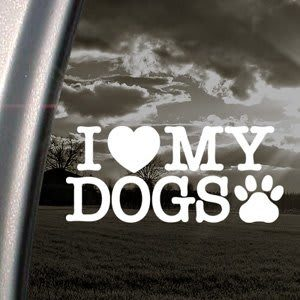 Love My Dogs Heart Decal Sticker - https://customstickershop.us/product-category/animal-stickers/