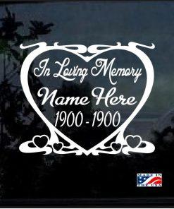 in loving memory decal sticker heart frame