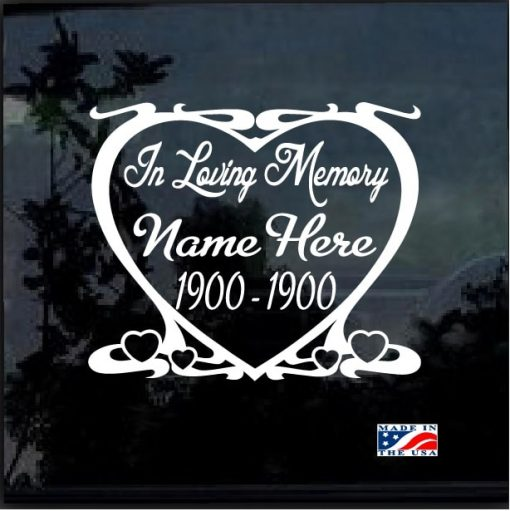 in loving memory decal sticker heart frame
