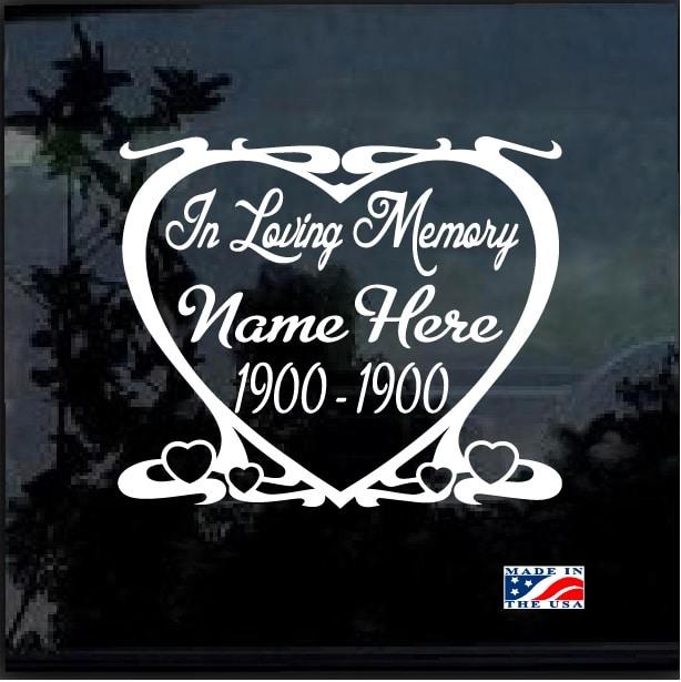In Loving Memory Car Decals >> Heart In Loving Memory Window Decal Sticker Custom Sticker Shop