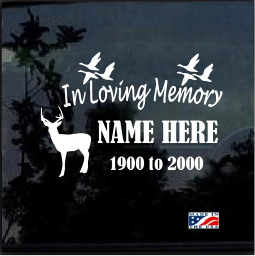 in loving memory decal sticker hunting theme