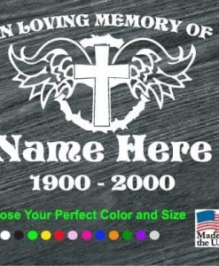 in loving memory cross and angel wings decal sticker