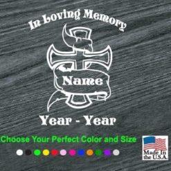 in loving memory cross banner decal sticker