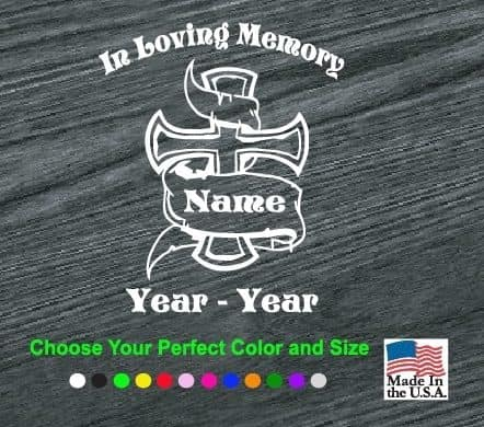 in loving memory cross banner decal sticker