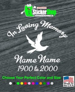 in loving memory decal sticker dove