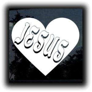 Jesus Heart Window Decal Sticker - https://customstickershop.us/product-category/religious-stickers/