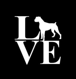 Love Boxer Window Decal Sticker - https://customstickershop.us/product-category/animal-stickers/