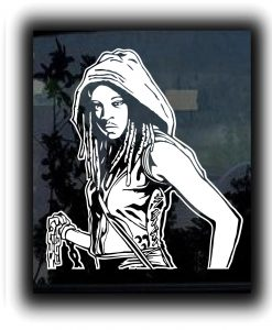 Walking Dead Michonne Decal Sticker - https://customstickershop.us/product-category/zombie-stickers/