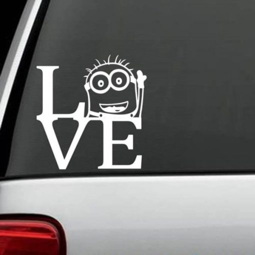 Despicable ME Love Minions Decal - https://customstickershop.us/product-category/stickers-for-cars/