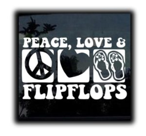 Peace Love Flip Flops Decal Sticker - https://customstickershop.us/product-category/stickers-for-cars/