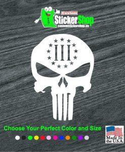 punisher 3 percenter skull decal sticker