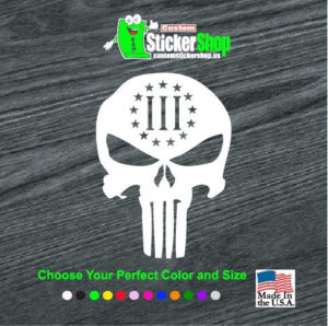 punisher 3 percenter skull decal sticker