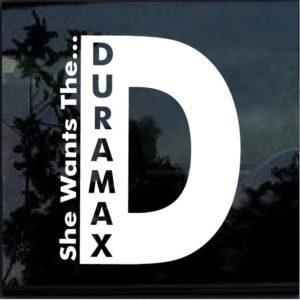 she wants the duramax window decal sticker