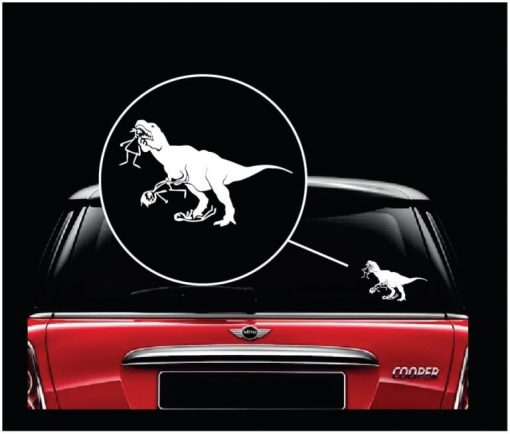 T-rex eating stick family Decal Sticker