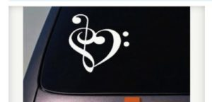 Treble Clef Heart Music Decal Sticker - https://customstickershop.us/product-category/music-decals/