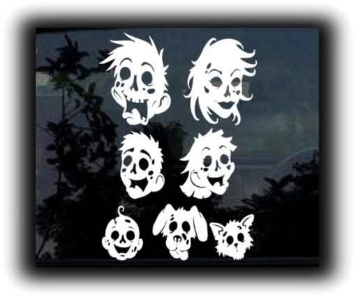 Zombie Family Heads Stickers - https://customstickershop.us/product-category/zombie-stickers/