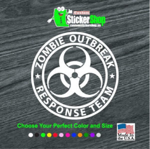 zombie outbreak response team circle decal sticker