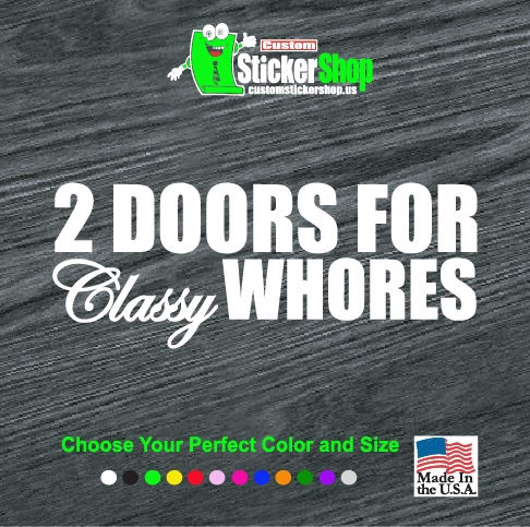2 doors for classy whores jdm decal sticker