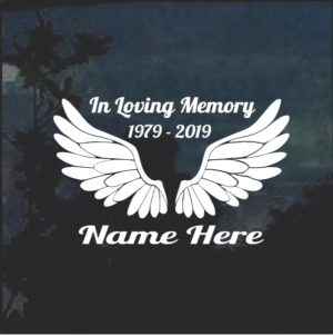 Angel Wings A2 In Loving Memory Window Decal Sticker