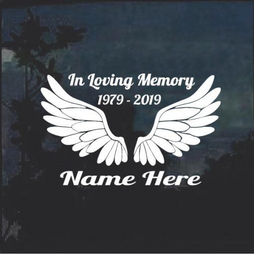 Angel Wings A2 In Loving Memory Window Decal Sticker