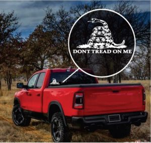 Don't Tread on me Gadsden flag window decal sticker
