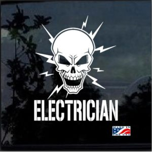 Electrician Lineman Skull Window Decal Sticker