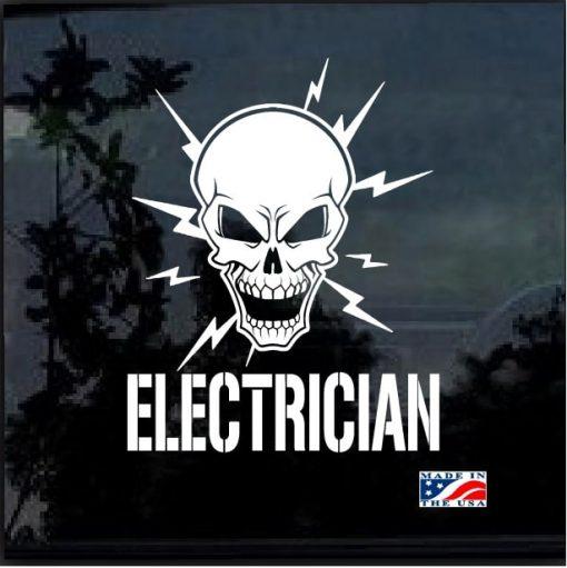 Electrician Lineman Skull Window Decal Sticker