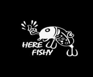 Here Fishy Fishing Lure Decal