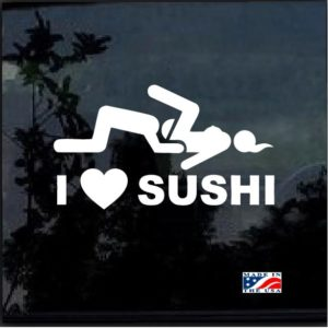 I love sushi stick man window decal sticker