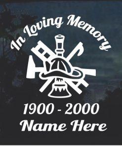 Fireman Crest In Loving Memory Window Decal Sticker