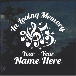 In Loving Memory Music Notes Decal Sticker