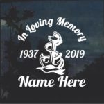 Navy Anchor In Loving Memory Window Decal Sticker