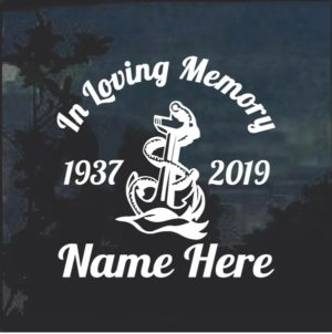 In loving memory Navy Anchor Window Decal Sticker
