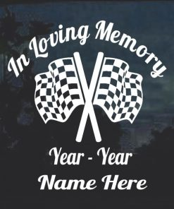 In loving memory checkered racing flag window decal sticker