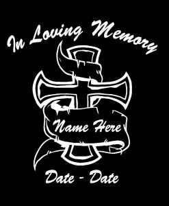 In loving memory decal cross banner