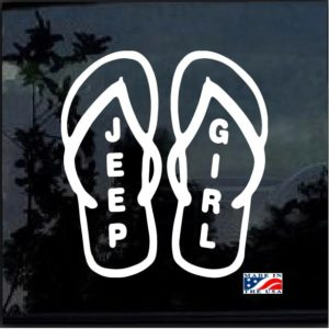 Jeep Girl Flip Flops Window Decal Sticker