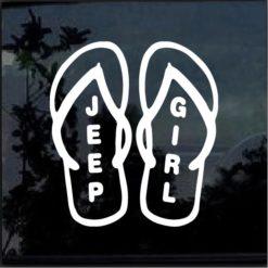 Jeep Girl Flip Flops Window Decal Sticker