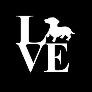 Love Dachshund Window Decal a1
