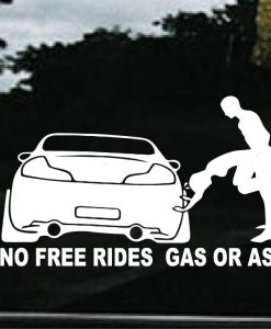 No Free Rides Ass or Gas JDM Decal - https://customstickershop.us/product-category/jdm-stickers/