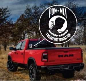 POW MIA never forgotten truck Window Decal Sticker