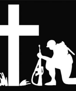 Soldier kneeling at cross decal