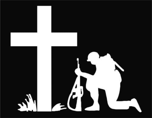 Soldier kneeling at cross decal