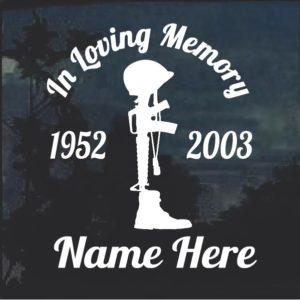Soldier cross In Loving Memory Window Decal Sticker